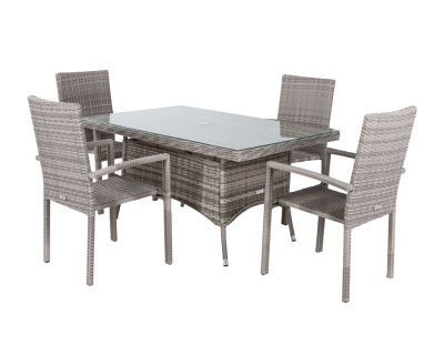 Rio 4 Stackable Chairs and Small Rectangular Dining Table in Grey