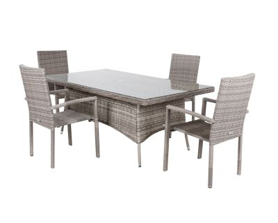 Rio 4 Stackable Chairs and Rectangular Dining Table in Grey