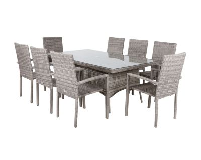 Rio 8 Stackable Chairs and Rectangular Dining Table in Grey