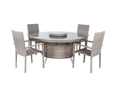 Rio 4 Stackable Chairs and Large Round Dining Table in Grey