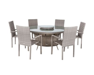 Rio 6 Stackable Chairs and Large Round Dining Table in Grey