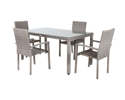Rio 4 Stackable Chairs and Rectangular Open Leg Dining Table in Grey