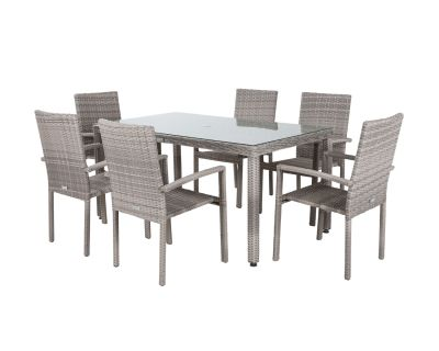 Rio 6 Stackable Chairs and Rectangular Open Leg Dining Table in Grey