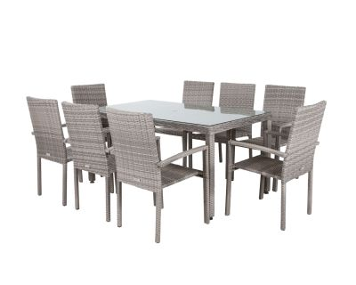 Rio 8 Stackable Chairs and Rectangular Open Leg Dining Table in Grey