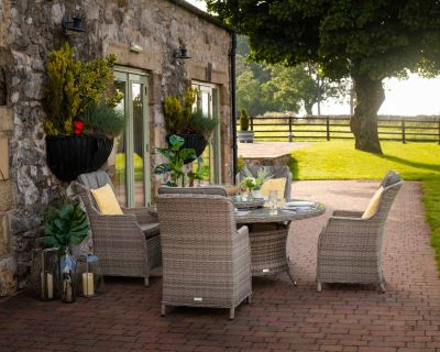 Riviera 4 Rattan Garden Dining Chairs and Large Round Table Set in Grey