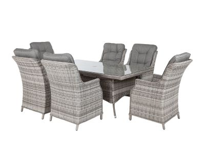 Riviera 6 Dining Chairs and Rectangular Dining Table in Grey