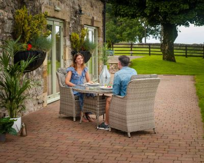 Riviera 2 Rattan Garden Chairs and Small Round Dining Table in Grey