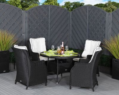 Riviera 4 Dining Chairs and Small Round Table in Black and Vanilla