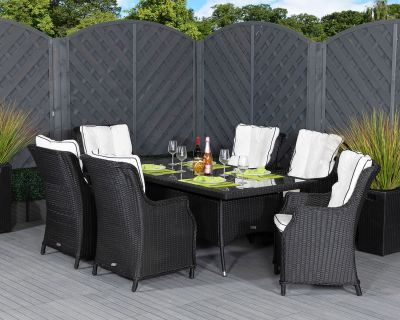 Riviera 6 Dining Chairs and Rectangular Table in Black and Vanilla