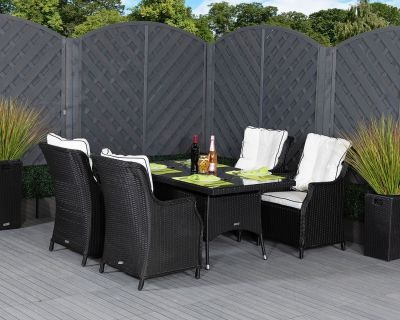 Riviera 4 Dining Chairs and Small Rectangular Table in Black and Vanilla