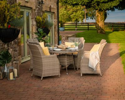 Riviera 4 Rattan Garden Chairs and Small Round Dining Table in Grey