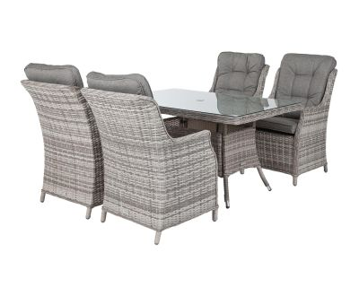 Riviera 4 Dining Chairs and Small Rectangular Dining Table in Grey