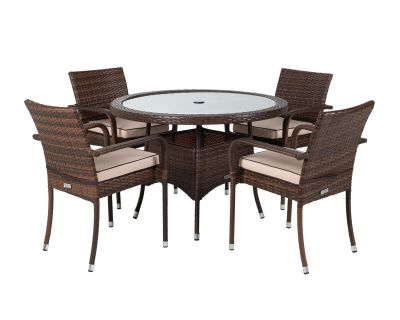 Roma Chairs And Small Round Table Set Chocolate And Cream