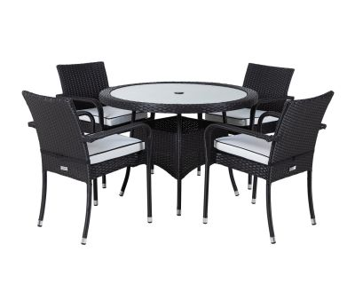 4 Seater Round Table Rattan Dining Set With 4 Chairs