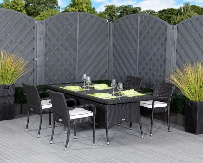 Roma 4 Rattan Garden Chairs and Rectangular Table Set in Black and Vanilla