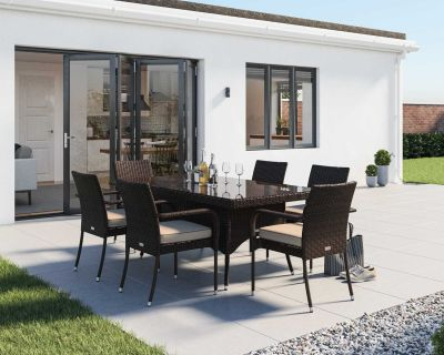Roma 6 Rattan Garden Chairs and Rectangular Table Set in Chocolate and Cream