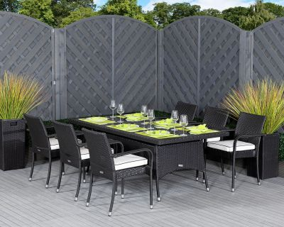 Roma 6 Rattan Garden Chairs and Rectangular Table Set in Black & Vanilla