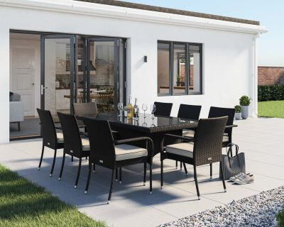 Roma 8 Rattan Garden Chairs and Rectangular Dining Table Set in Black and Vanilla