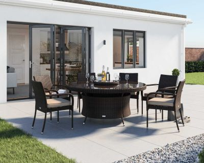 Roma 6 Rattan Garden Chairs, Large Round Dining Table and Lazy Susan Set in Chocolate and Cream