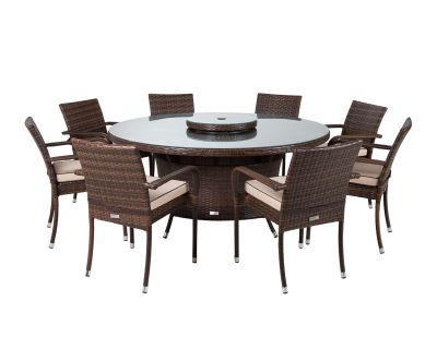 Roma 8 Rattan Garden Chairs, Large Round Table and Lazy Susan Set in Chocolate and Cream