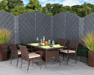Roma 4 Rattan Garden Chairs and Small Rectangular Table Set in Chocolate and Cream