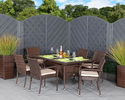 Roma 6 Rattan Garden Chairs and Small Rectangular Table Set in Chocolate and Cream
