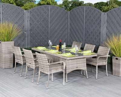 Roma 6 Stackable Chairs and Rectangular Dining Table in Grey