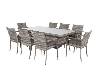 Roma 8 Stackable Chairs and Rectangular Dining Table in Grey