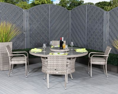 Roma 4 Stackable Chairs and Large Round Dining Table in Grey