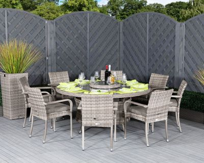 Roma 8 Stackable Chairs and Large Round Dining Table in Grey