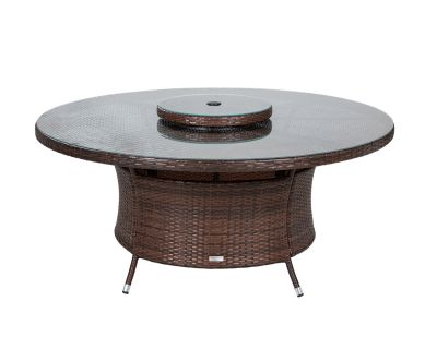 Large Round Rattan Garden Dining Table with Lazy Susan in Chocolate Mix