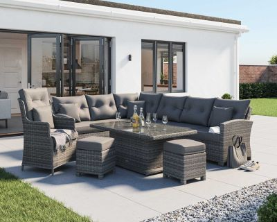 Sorrento Rattan Garden Adjustable Corner Dining Set with Chair in Grey