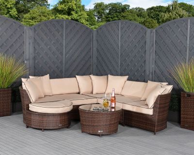 Valencia Rattan Garden Corner Sofa Set in Chocolate Mix and Coffee Cream