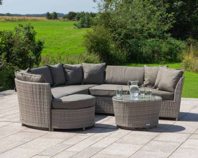 Valencia Rattan Garden Corner Sofa Set in Grey