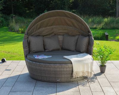 Venice Rattan Garden Day Bed in Grey