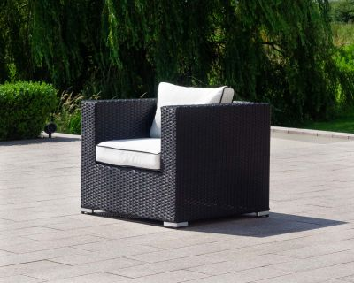 Ascot Rattan Garden Armchair in Black and Vanilla
