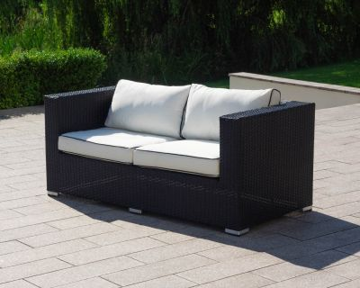 Ascot 2 Seat Rattan Garden Sofa in Black and Vanilla