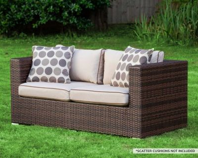 Ascot 2 Seat Rattan Garden Sofa in Chocolate Mix and Coffee Cream