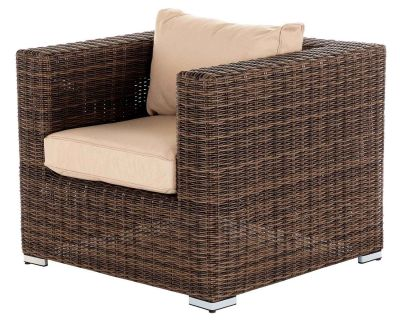 Ascot Rattan Garden Armchair in Truffle and Champagne