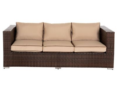 Ascot 3 Seat Rattan Garden Sofa in Chocolate Mix and Coffee Cream