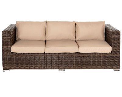 Ascot 3 Seat Rattan Garden Sofa in Premium Truffle Brown and Champagne