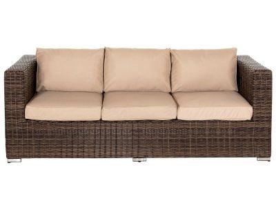 Ascot 3 Seat Rattan Garden Sofa in Truffle and Champagne