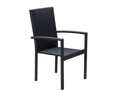 Rio Armed Stacking Rattan Garden Chair in Black