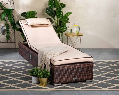Miami Rattan Garden Sun Lounger in Chocolate Mix and Coffee Cream