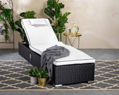 Miami Rattan Garden Sun Lounger in Black and Vanilla