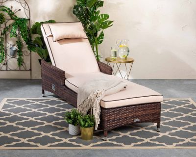 Cambridge Rattan Garden Sun Lounger in Chocolate Mix and Coffee Cream