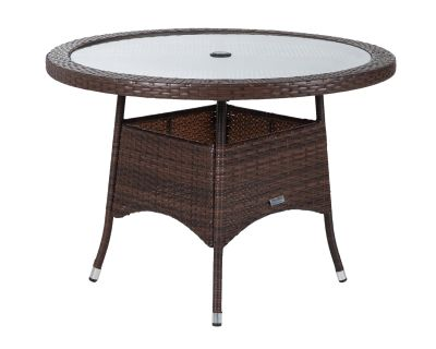 Small Round Rattan Garden Dining Table in Chocolate Mix