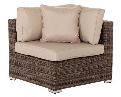 Florida Rattan Garden Corner Section in Truffle and Champagne
