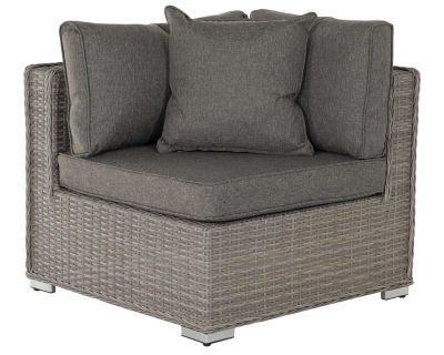 Rattan corner sofa section in a grey