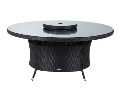Large Round Dining Table Black And Vanilla